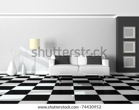 3d render interior of the modern room, grey wall and white sofa - stock photo