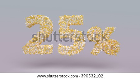 3D render letter particles text of 25 percent