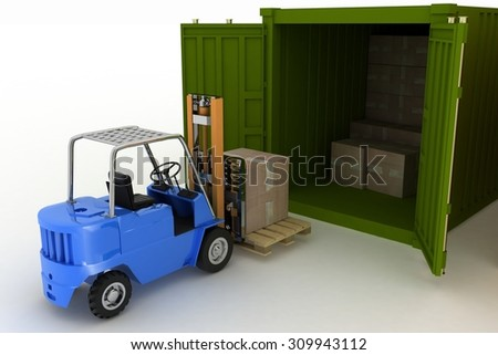 3d render. Loader loads in the container of box - stock photo
