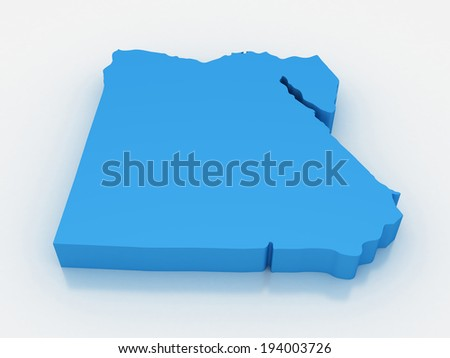 3D render map of Egypt - stock photo