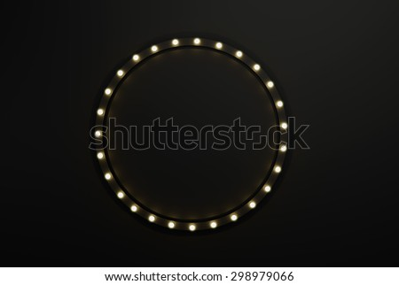 3D render Marquee light circle board sign on black wall backgrou - stock photo