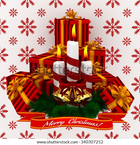 3D Render: Merry Christmas Burning candles with golden bells and sprigs of christmas tree isolated on white - stock photo