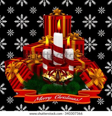 3D Render: Merry Christmas Burning candles with golden bells, christmass red gifts and sprigs of christmas tree isolated on black snow background - stock photo