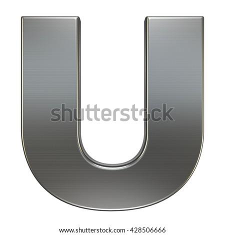 3d render. Metal alphabet symbol - U. - stock photo