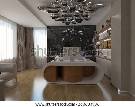 3d render modern home office - stock photo