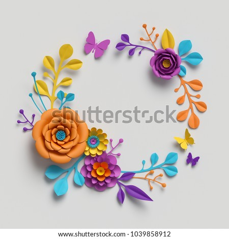 3d Render Multicolor Paper Flowers Vivid Color Palette Botanical Background Isolated Clip