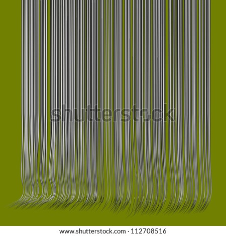 3d render multiple wavy hair lines in chrome silver on green - stock photo