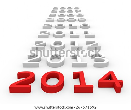 3d render New Year 2014 and next years on a white background.  - stock photo