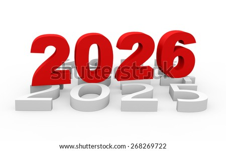 3d render New Year 2026 and next years on a white background.