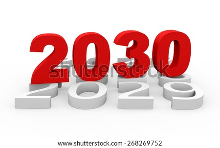 3d render New Year 2030 and next years on a white background.  - stock photo