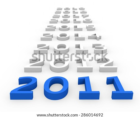 3d render New Year 2011 and next years on a white background.  - stock photo