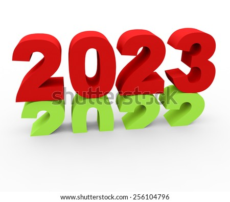 3d render New Year 2023 and past year 2022 on a white background.