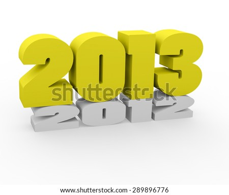 3d render New Year 2013 and past year on a white background.