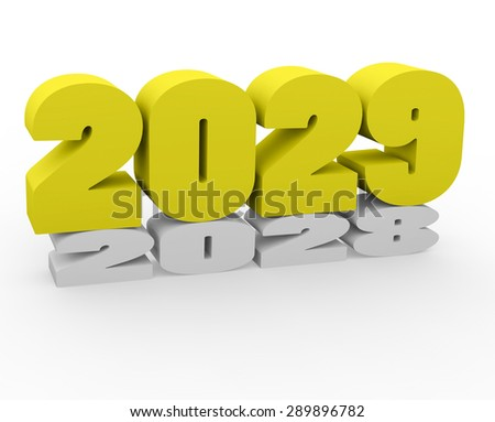 3d render New Year 2029 and past year on a white background.
