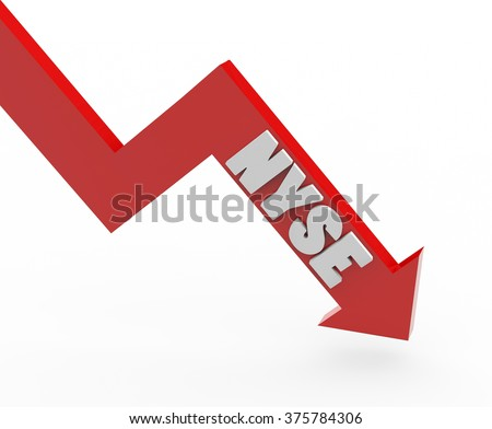 3d render NYSE stock market index in a red arrow on a white background.  - stock photo
