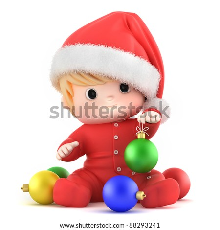 3D Render of a baby holding christmas ball