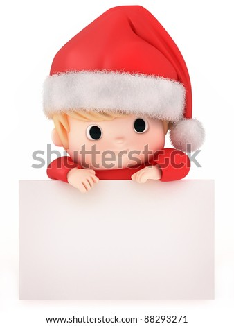 3D Render of a baby on top of a blank board