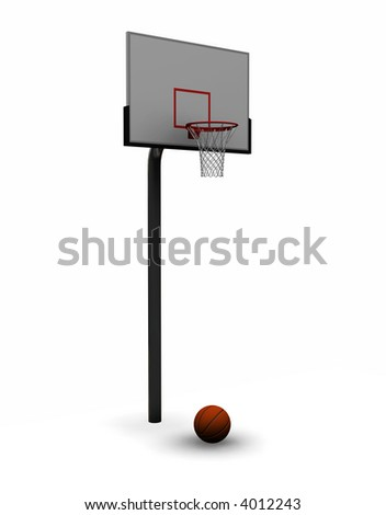 3D render of a basketball with net - stock photo
