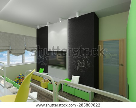 3D render of a bedroom for sibling in green and yellow colour  - stock photo