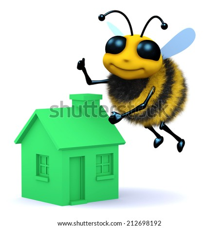 3d render of a bee flying above a green house - stock photo