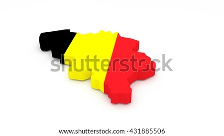 3D render of a Belgium map with a flag texture.  - stock photo