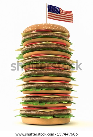 3d render of a BIg Hamburger eith the american flag - stock photo