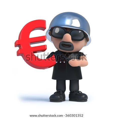 3d render of a biker holding a Euro currency symbol.