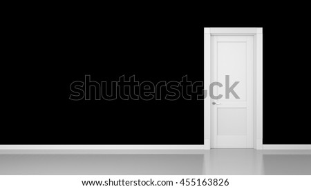 3D render of a black wall and a door in an empty flat with space for your content
