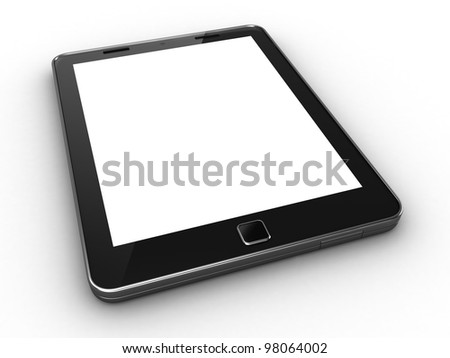 3D render of a blank tablet pc - stock photo