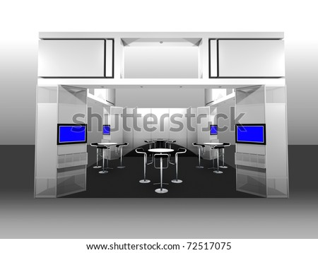 3d render of a blank trade exhibition booth with display and meeting area