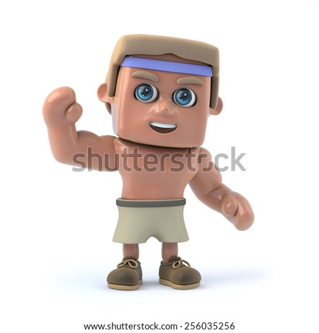 3d render of a bodybuilder waving a cheerful hello. - stock photo