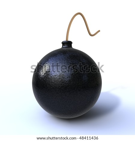 3d render of a bomb isolated on white background - stock photo