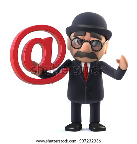 3d render of a bowler hatted British businessman holding an email address symbol.