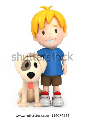 3d render of a boy and his dog - stock photo