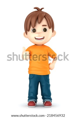 3D render of a boy showing ok sign - stock photo
