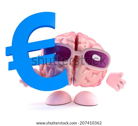 3d render of a brain character holding a Euro currency symbol - stock photo