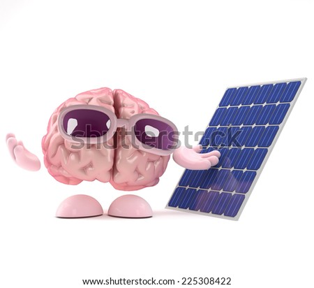 3d render of a brain character standing next to a solar panel - stock photo