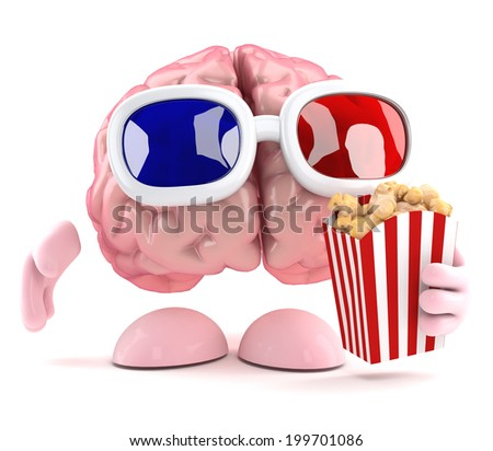 3d render of a brain eating popcorn at the movies - stock photo