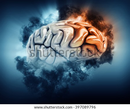 3D render of a brain in storm clouds with frontal lobe highlighted - stock photo