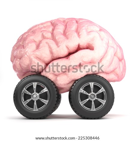 3d render of a brain on wheels - stock photo