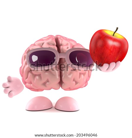 3d render of a brain with an apple - stock photo