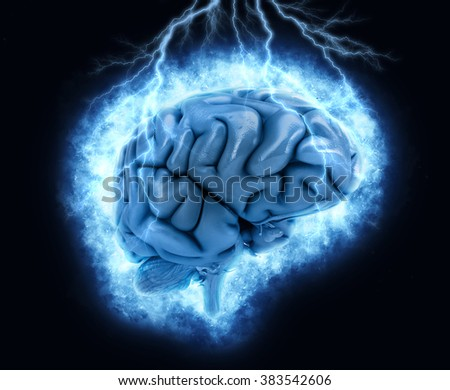 3D render of a brain with exploding lightening effect - stock photo