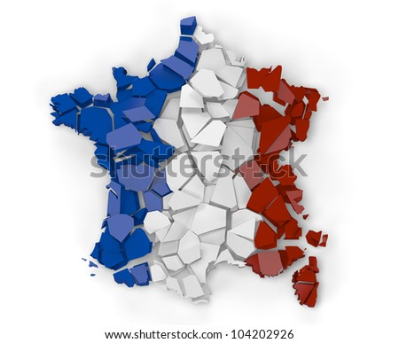 3D Render of a broken map of France isolated on white background - stock photo