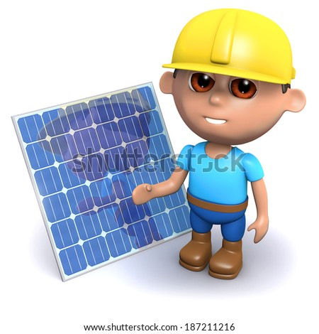 3d render of a builder with a solar panel - stock photo