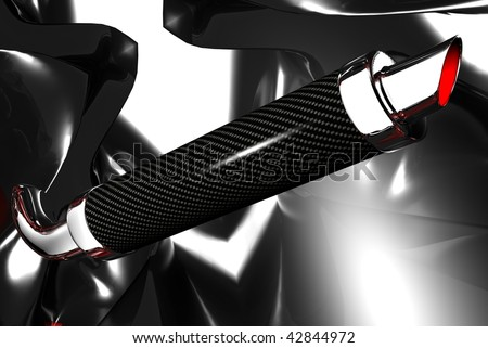 3D render of a carbon fiber performance racing motor bike pipe