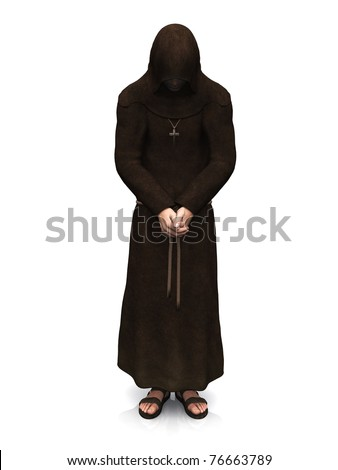 3d render of a christian monk with his head bowed, contemplating. White background. - stock photo