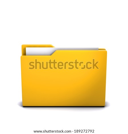 3d render of a closed folder with documents inside