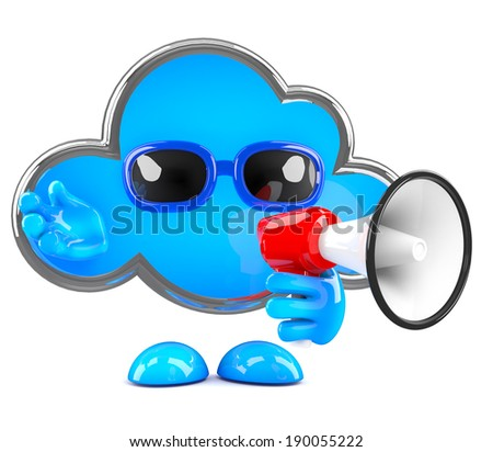 3d render of a cloud with a bullhorn