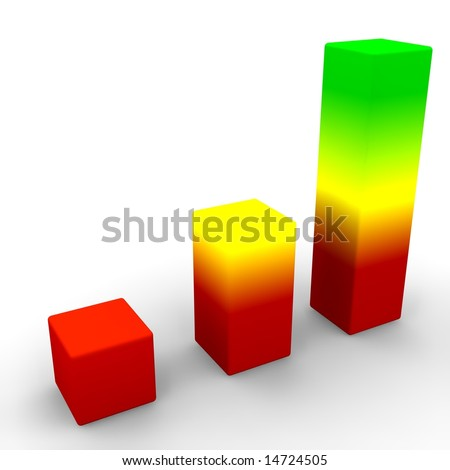 3d render of a colorful graph showing positive trends - stock photo
