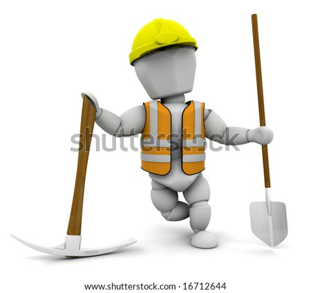 3D render of a construction worker